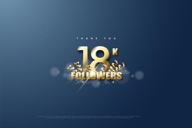 Спасибо 18k подписчиков с украшением золотой лентой под номерами