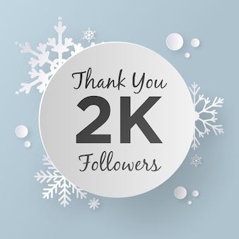 Thank you 2k followers design template, paper art style.