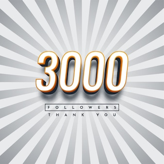 Thank you 3000 followers illustration template design