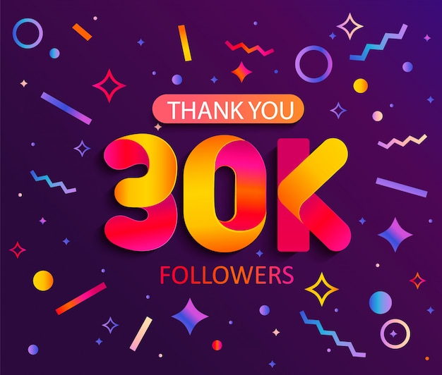 30000人のフォロワー、ありがとうバナーに感謝します。