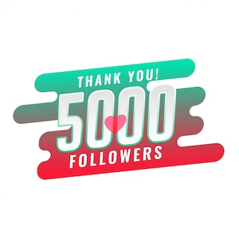 Grazie 5000 design del modello di follower dei social media