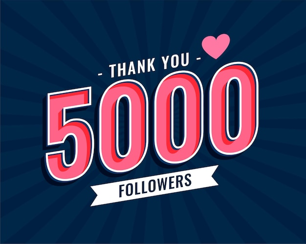 Thank you 5000 social media followers template design