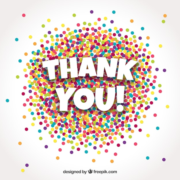 Free Thank you background with colorful confetti SVG DXF EPS