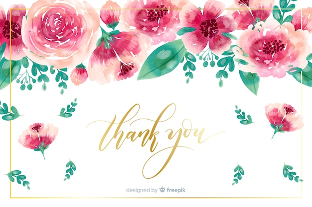 Thank you background with floral decoration