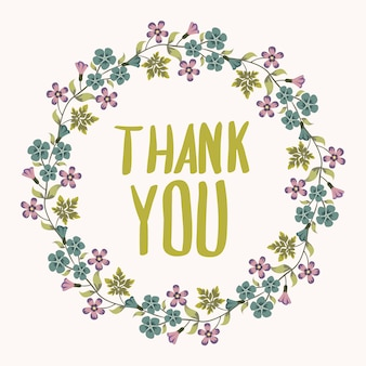 Thank you background with floral wreath