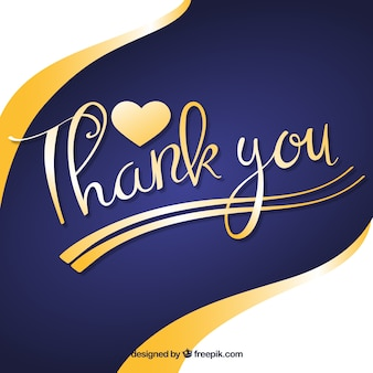 Thank you background with golden lettering