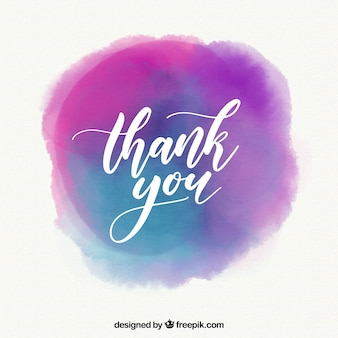 Thank you background with lettering in watercolor stain