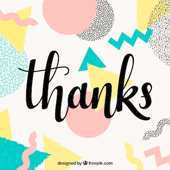 Thank you background with multicolor shapes