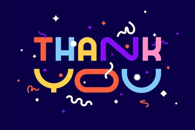 Thank you. banner, poster and sticker concept, geometric style with text thank you.