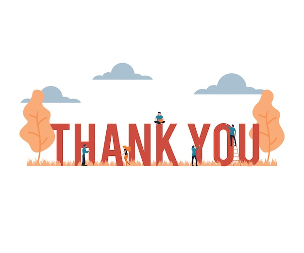 Thank you big word presentation flat cartoon style