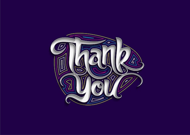 Thank you calligraphic flat line style text vector illustration design