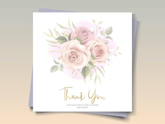 꽃 테마에 감사 카드 디자인