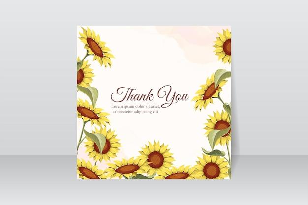 아름다운 해바라기가 있는 감사 카드 디자인