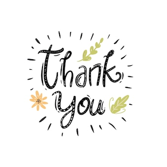 Thank you card floral hand drawn