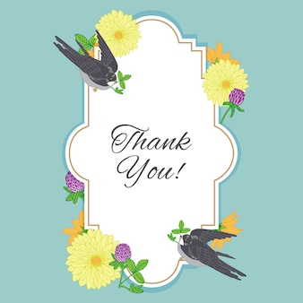 Thank you card frame with vintage flowers and birds