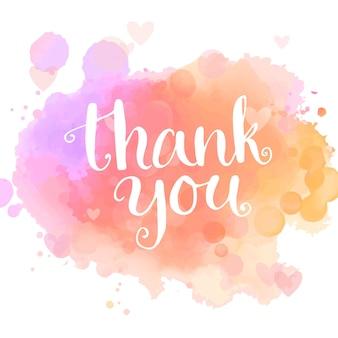감사 카드입니다. 핑크 수채화 모조 배경에 필기 흰색 문구입니다. 현대 서예 스타일. 벡터 타이포그래피 디자인입니다.