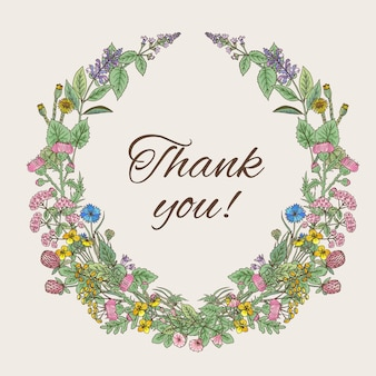Thank you card. inscription inside the wreath of hand drawn herbs and flowers