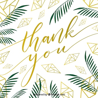 Thank you card leaves design Premium Vector