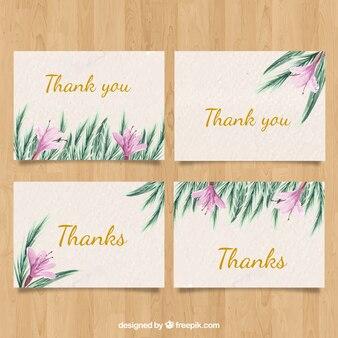 カードに水彩の花がありがとう