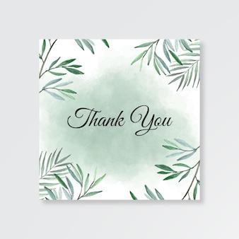 수채화 단풍으로 결혼식을위한 감사 카드 템플릿