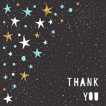 감사 카드 템플릿입니다. 수제 유치한 각진 아플리케 파란색, 흰색 및 금색 별과 글자. 골드 텍스처입니다.