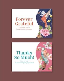 새와 봄 개념 설정 감사 카드 서식 파일