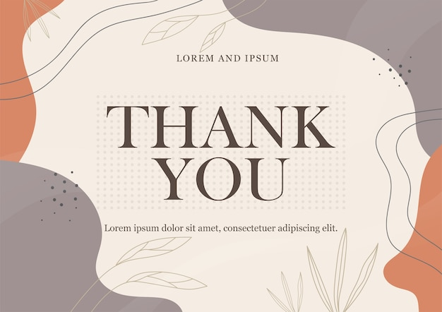 Thank you card template with abstract background