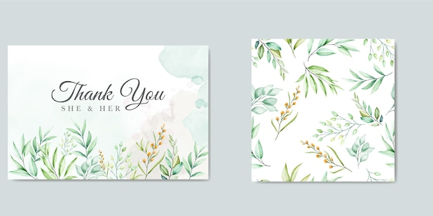 Thank you card template with beautiful watercolor leaves