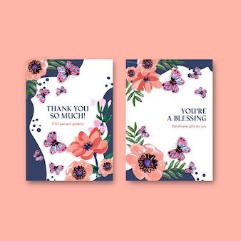 Modello di biglietto di ringraziamento con concept design di fiori di pennello per acquerello di invito