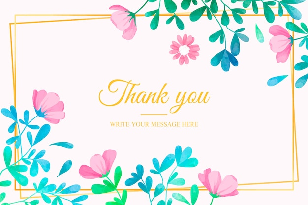 Thank you card template with floral design