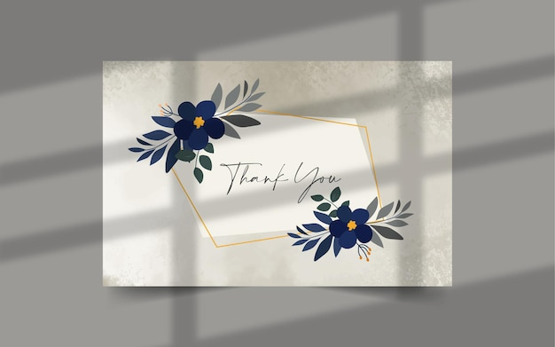 Thank you card template with floral elements