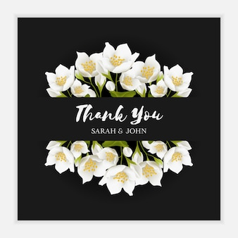 Thank you card template with jasmine flower ornament