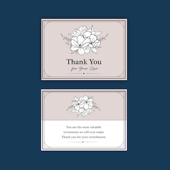 Thank you card template with line art flower