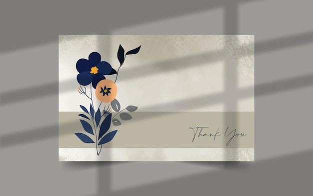 Thank you card template with line art and watercolor splashes