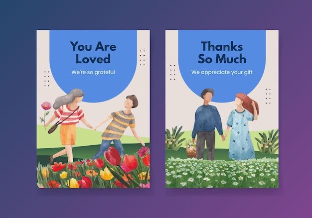 Спасибо шаблон карты с парком и семейной концепцией дизайна акварельной иллюстрацией