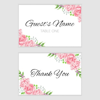 Thank you card template with pink watercolor flower frame