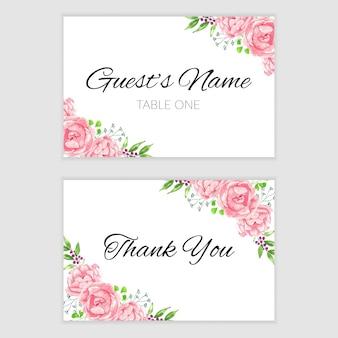 ピンクの水彩花のフレームとありがとうカードテンプレート