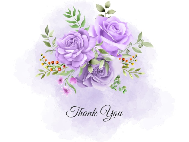 Thank you card template with purple roses bouquet design
