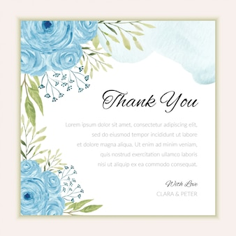 Thank you card template with watercolor blue rose ornament