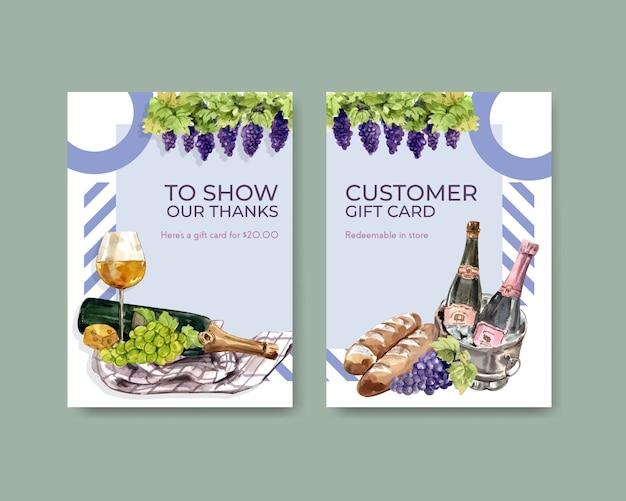 Шаблон карты благодарности с концептуальным дизайном винной фермы для приветствия и юбилейной акварельной иллюстрации.