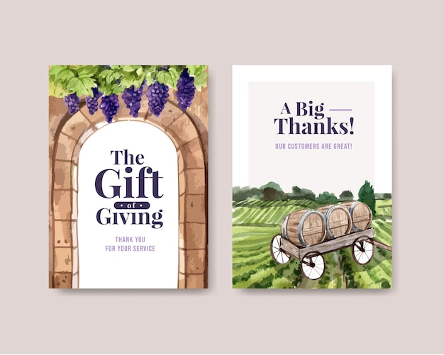 Thank you card template with wine farm concept design for greeting and anniversary watercolor illustration.