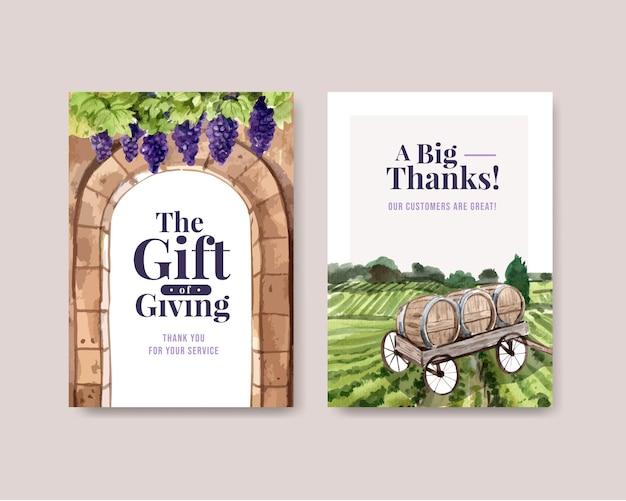 Grazie modello di scheda con progettazione del concetto di fattoria del vino per l'illustrazione dell'acquerello di saluto e anniversario