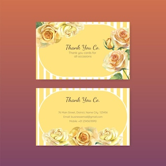 Thank you card templates with father's day concept in watercolor style