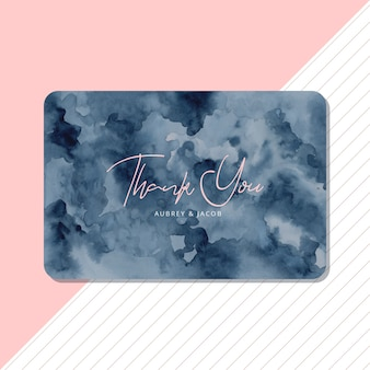 Thank you card with abstract blue watercolor background