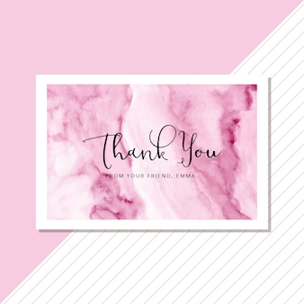 Thank you card with abstract soft pink watercolor background