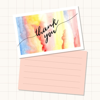Thank you card with abstract watercolor background