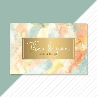Thank you card with abstract watercolor and golden background