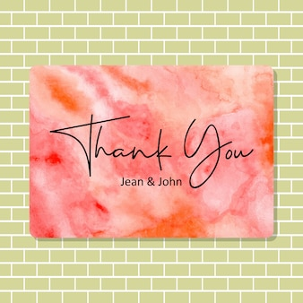 Thank you card with abstract watercolor texture