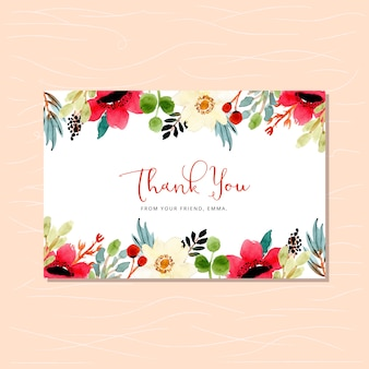 Thank you card with beautiful floral watercolor frame
