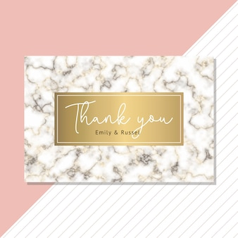 Thank you card with black gold marble background